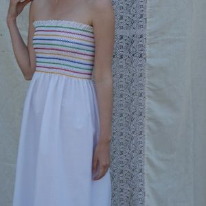 Rainbow Smocked 70s Midi Strapless Dress